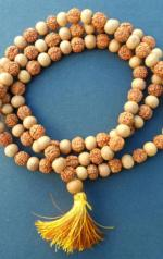 Natural Rudraksha and Sandalwood Mala