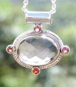 Natural Smokey Quartz and Garnet Silver Pendant