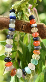 Multi-Coloured Gemstone Silver Chakra Bracelet