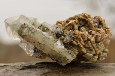 Mongolian Green Phantom Sceptre with Arsenopyrite and Calcite