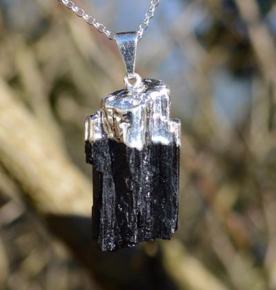 Black Tourmaline in Silver Plated Copper