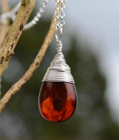 Wire Wrapped Baltic Cherry Amber Silver Pendant