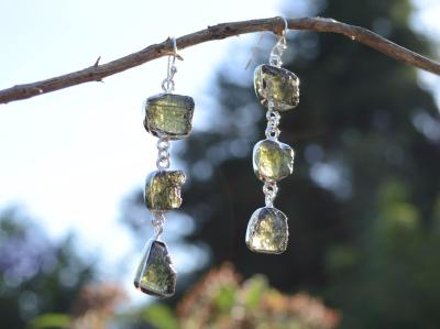 Moldavite Silver Earrings