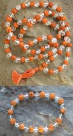 Natural Rudraksha and Himalayan Quartz Beads and Bracelet