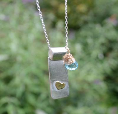 Handmade Blue Apatite Gold Heart Silver Necklace
