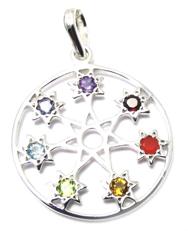 7 star silver chakra pendant 7 chakra stones seven star silver chakra pendant mozeypictures Choice Image