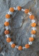 Natural Rudraksha and Himalayan Quartz Bracelet