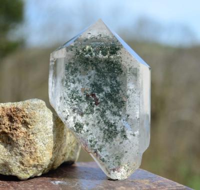 Generator Quartz with Green Chlorite Phantoms & Inclusions