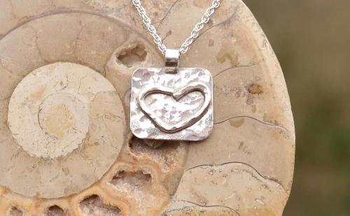 Handmade Heart Silver Pendant with Silver Chain
