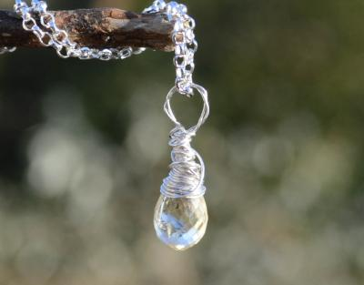 Wire Wrapped Natural Citrine Silver Pendant