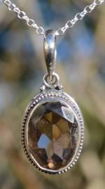 Natural Smokey Quartz Silver Pendant