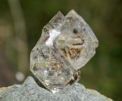 Golden Enhydro Herkimer Diamond Quartz Tantric Twin Sceptre Manifestation Crystal