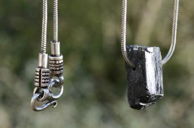 Black Tourmaline on Indian Style Silver Chain ~ SPECIAL OFFER!