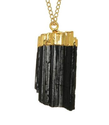Black Tourmaline in Gold Plated Copper