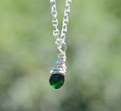 Wire Wrapped Green Tourmaline Silver Pendant