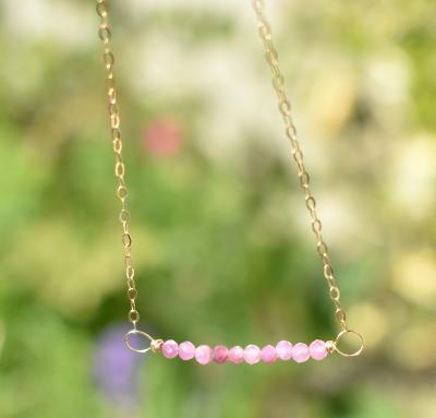 Pink Sapphire Gold Necklace