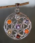 7 Gemstones Flower Of Life Silver Pendant - REDUCED