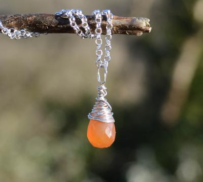 Wire Wrapped Carnelian Silver Pendant