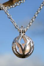 Pearl Silver Lotus Cage Pendant