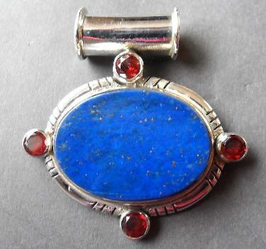 Lapis and Garnet Silver Pendant
