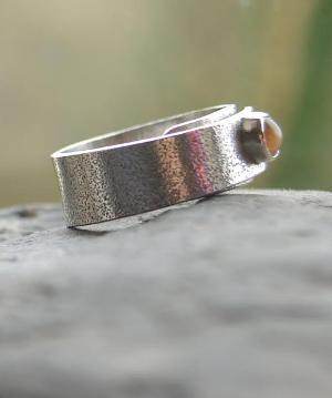Handmade Pink Moonstone Textured Silver Ring