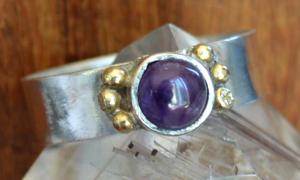 Handmade Amethyst Silver and 18k Gold Ring