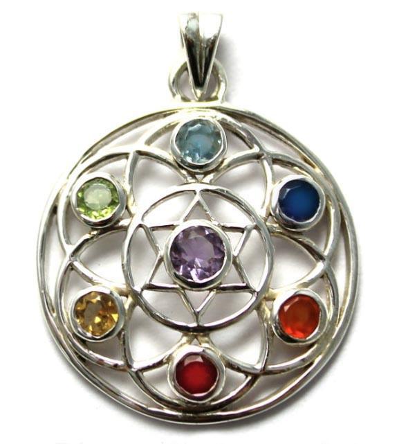 Flower of life silver chakra pendant 7 chakra stones flower of life silver chakra pendant mozeypictures Gallery