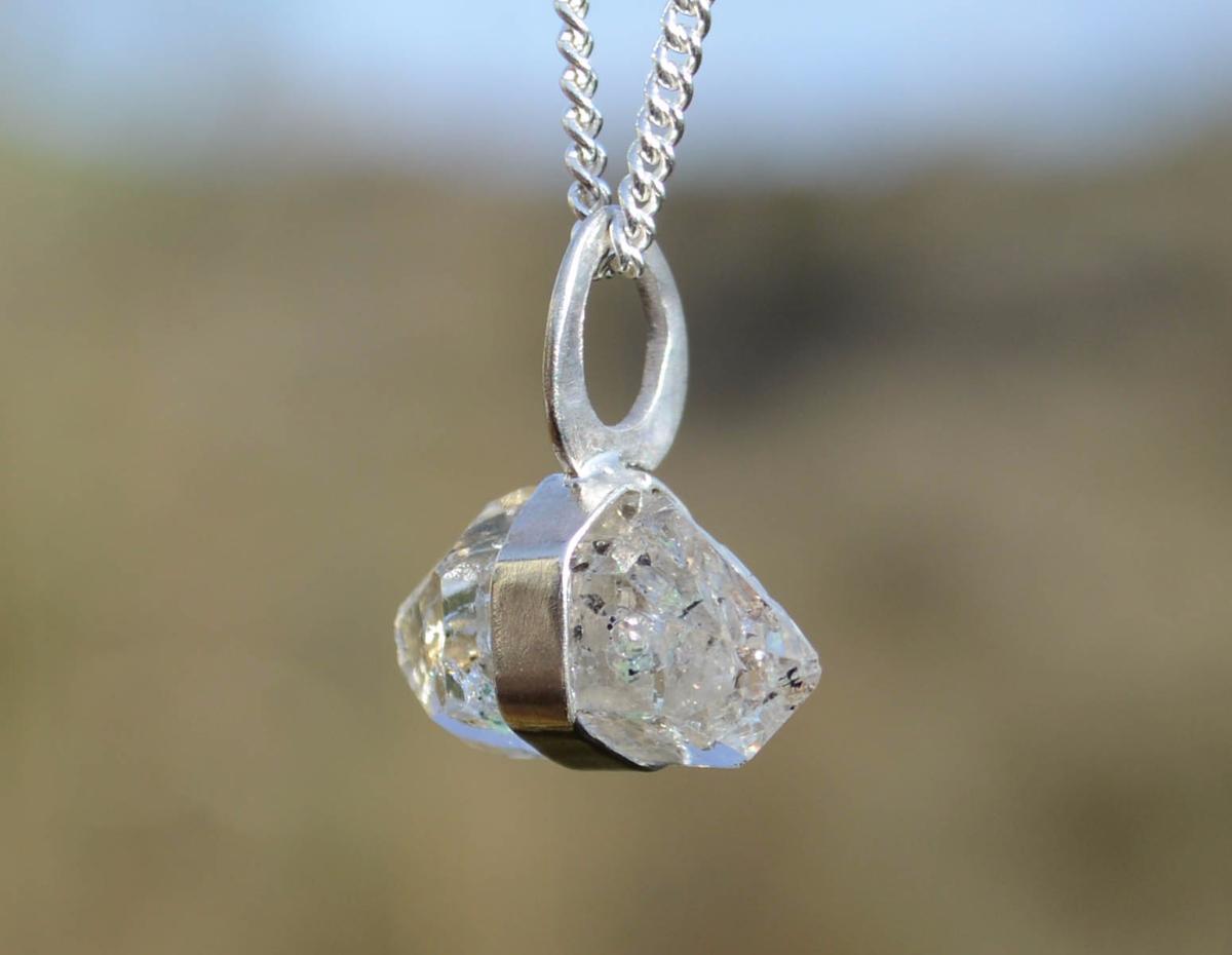 Golden enhydro herkimer diamond silver pendant handmade golden enhydro herkimer diamond silver pendant aloadofball Gallery
