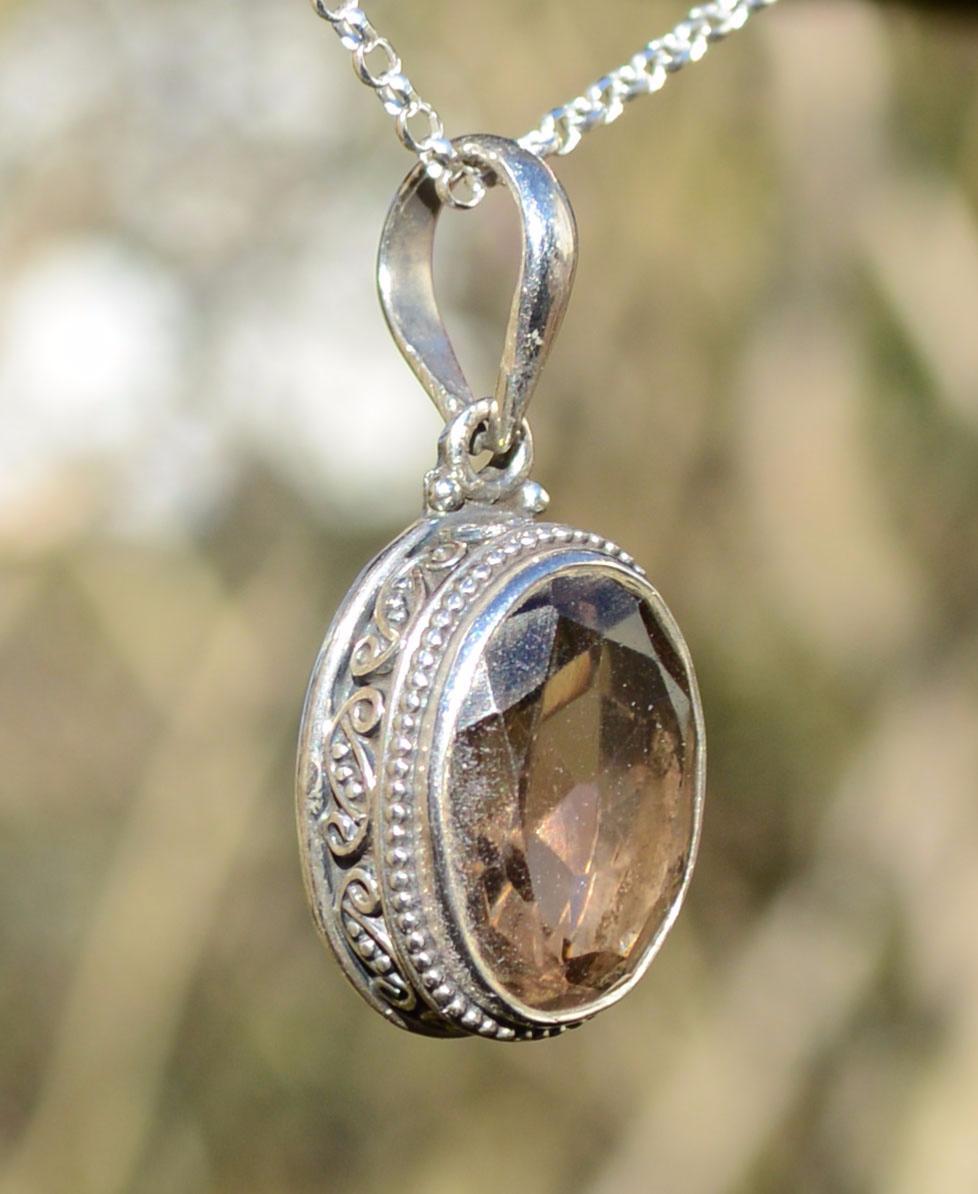 Smokey quartz silver pendant natural smokey quartz silver pendant aloadofball Images