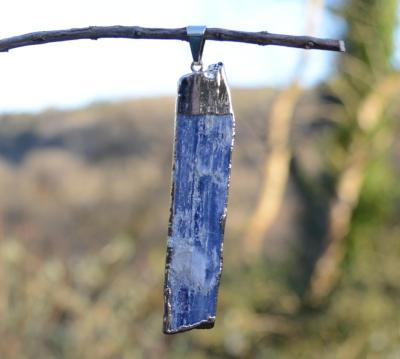 Large Blue Kyanite in 24K Gold Plated Copper